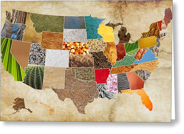 Vibrant Textures Of The United States On Worn Parchment Greeting Card by Design Turnpike