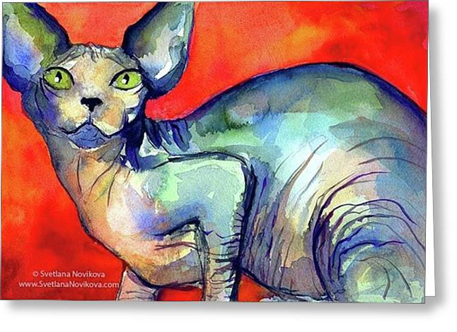 Vibrant Watercolor Sphynx Painting By Greeting Card