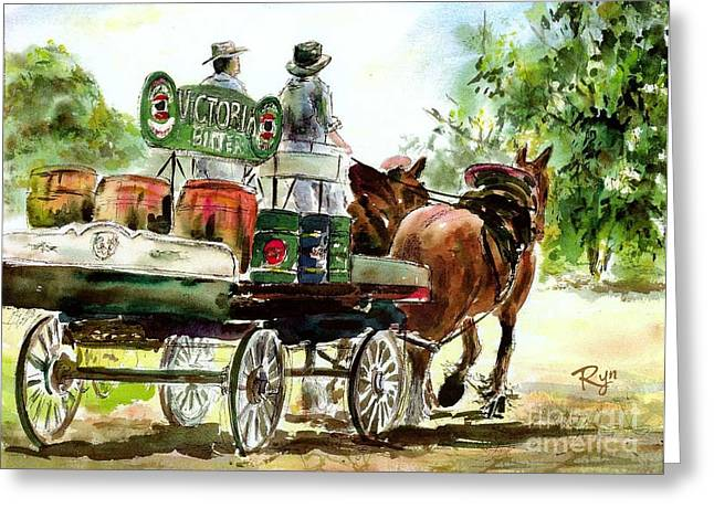 Victoria Bitter, Working Clydesdales. Greeting Card