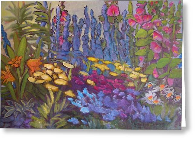 Vic Park Garden Greeting Card by Carol Hama Chang