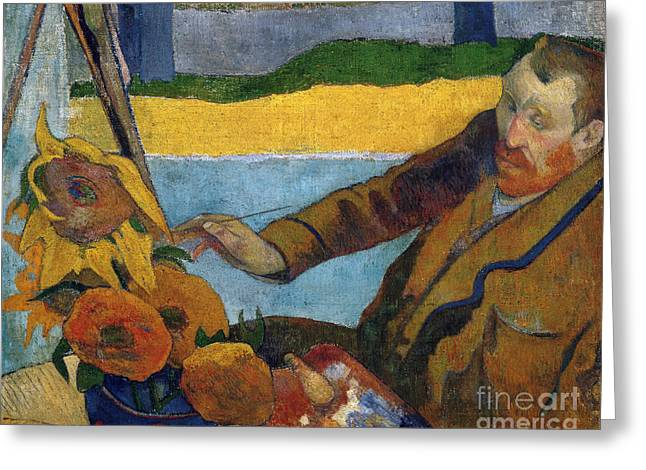 Vicent Van Gogh Painting Sunflowers Greeting Card by Gauguin