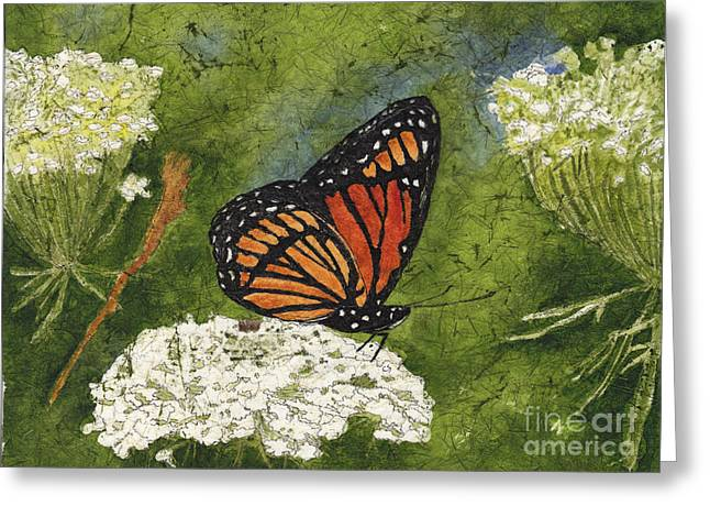 Viceroy Butterfly On Queen Anne's Lace Watercolor Batik Greeting Card