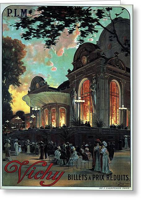 Vichy, France - Billets A Prix Reduits - Retro Travel Poster - Vintage Poster Greeting Card
