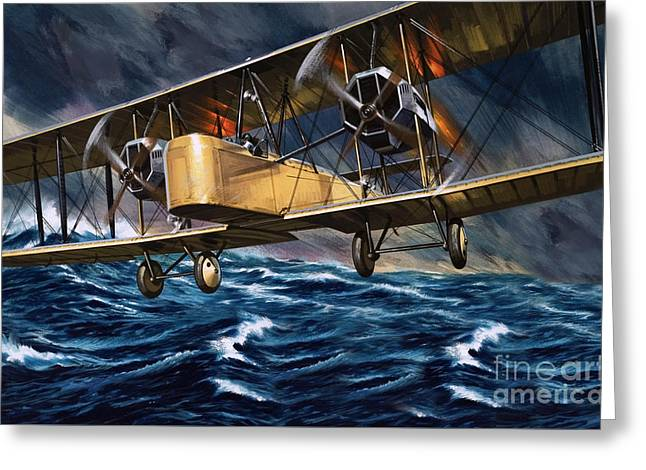 Vickers Vimy Over The Waves Greeting Card by Wilf Hardy