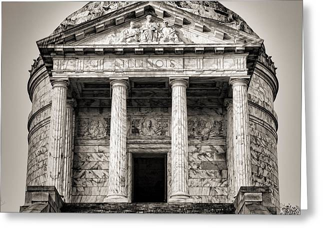 Vicksburg - Illinois Memorial In Black And White Greeting Card by Stephen Stookey