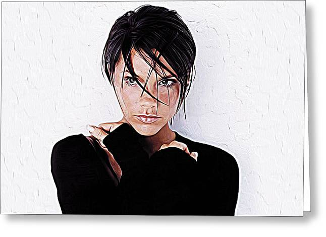 Victoria Beckham Greeting Card by Iguanna Espinosa