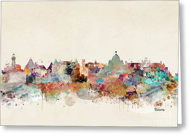 Greeting Card featuring the painting Victoria Canada Skyline by Bri B