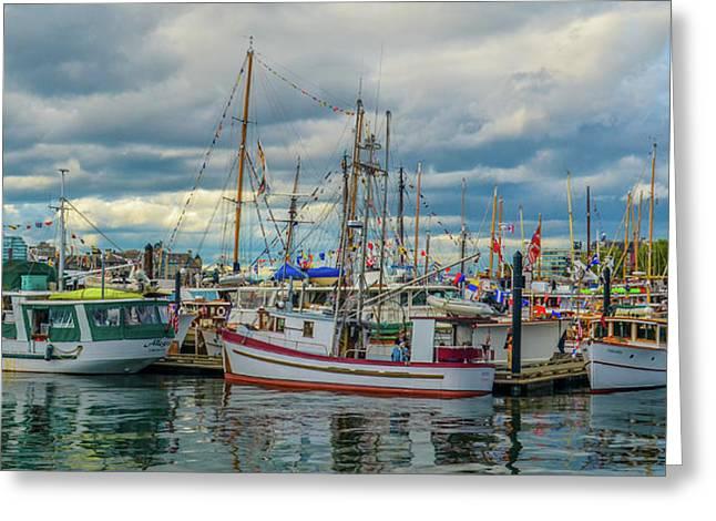 Victoria Harbor Boats Greeting Card