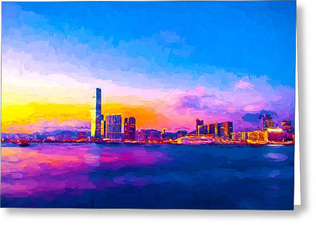 Victoria Harbour, Hong Kong Greeting Card by Theo Westlake