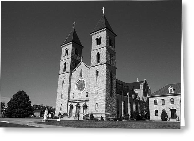 Greeting Card featuring the photograph Victoria, Kansas - Cathedral Of The Plains 6 Bw by Frank Romeo