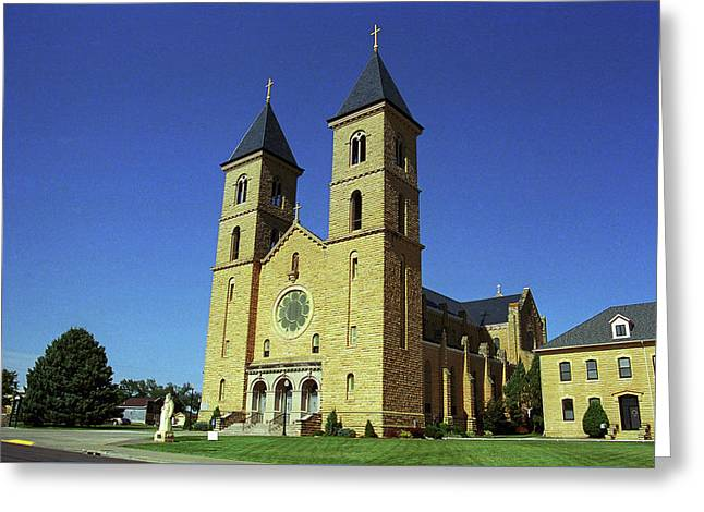 Greeting Card featuring the photograph Victoria, Kansas - Cathedral Of The Plains 6 by Frank Romeo