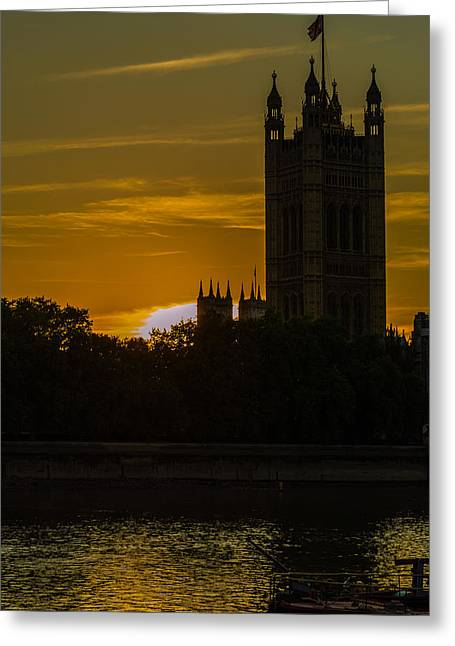 Victoria Tower In London Golden Hour Greeting Card