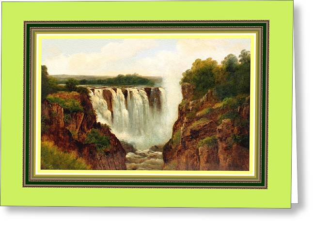 Victoria Waterfalls H B With Decorative Ornate Printed Frame. Greeting Card by Gert J Rheeders