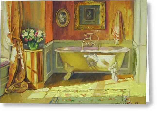 Victorian Bath Greeting Card by Jonel Scholtz