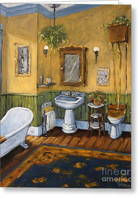 Original By ist Paintings Greeting Cards - Victorian Bathroom by Prankearts Greeting Card by Richard T Pranke