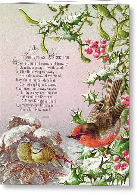 Victorian Christmas And New Year Card Of A Robin And Two Birds In A Snowy Scene Greeting Card