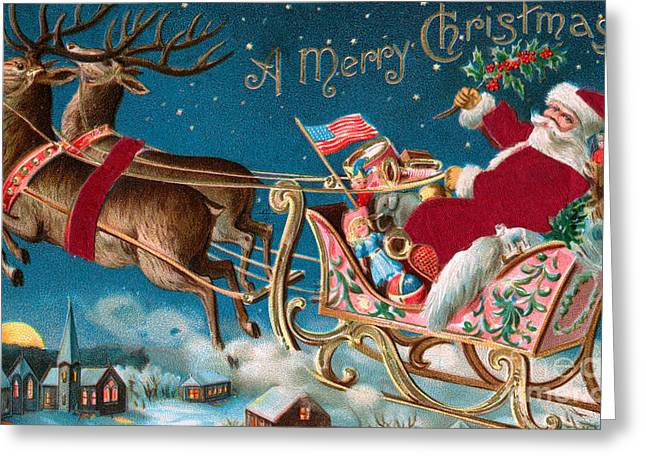 Victorian Christmas Card Greeting Card by American School
