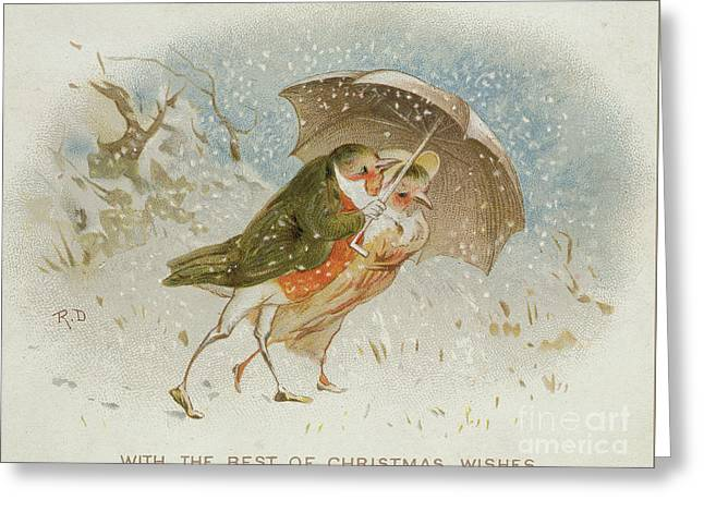 Victorian Christmas Card Greeting Card by Robert Dudley