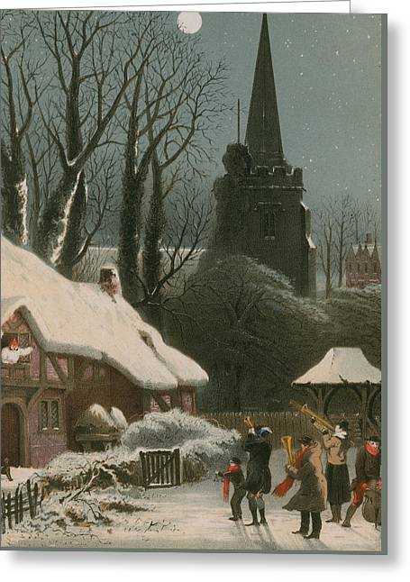 Victorian Christmas Scene With Band Playing In The Snow Greeting Card by John Brandard