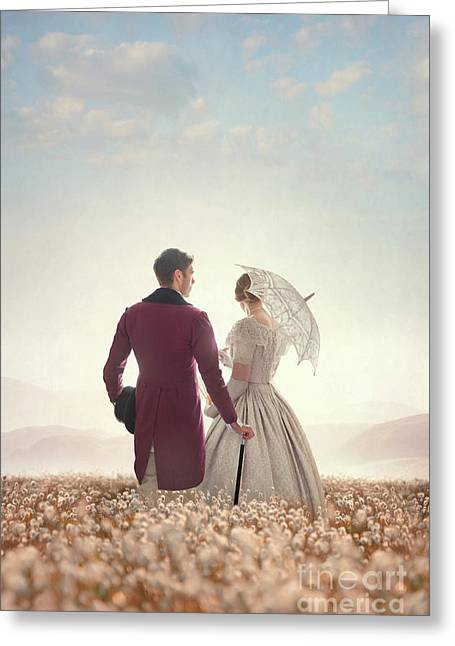Greeting Card featuring the photograph Victorian Couple Standing In A Meadow by Lee Avison