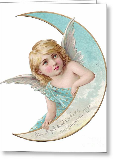 Victorian Crescent Shaped Christmas Card Of An Angel Leaning On The Crescent Shaped Moon Greeting Card