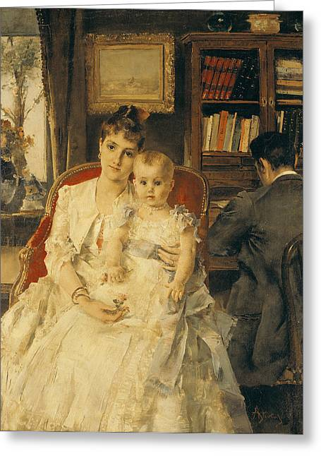Victorian Family Scene Greeting Card by Alfred Emile Stevens