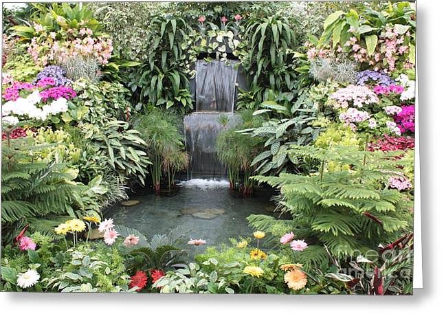 Victorian Garden Waterfall Greeting Card by Carol Groenen
