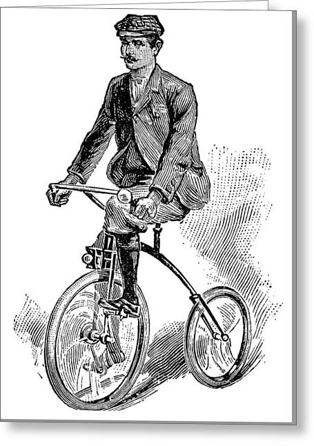 Victorian Gentleman Cycling Greeting Card by Neil Baylis