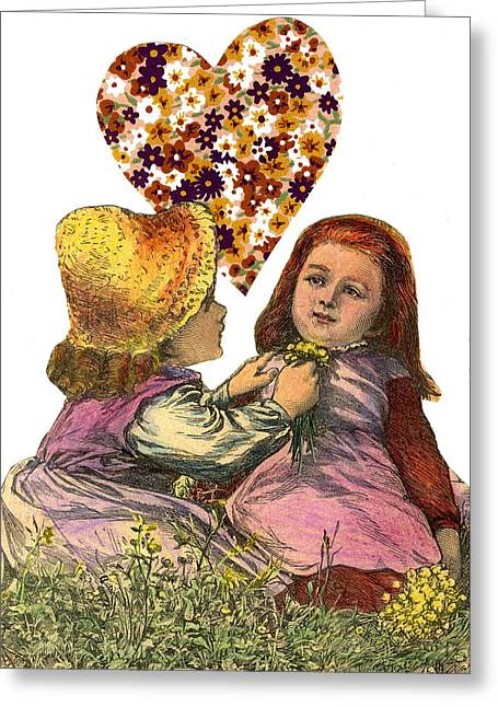 Victorian Girls Buttercup Game Greeting Card by Marcia Masino