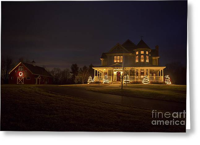 Victorian House At Christmas Greeting Card