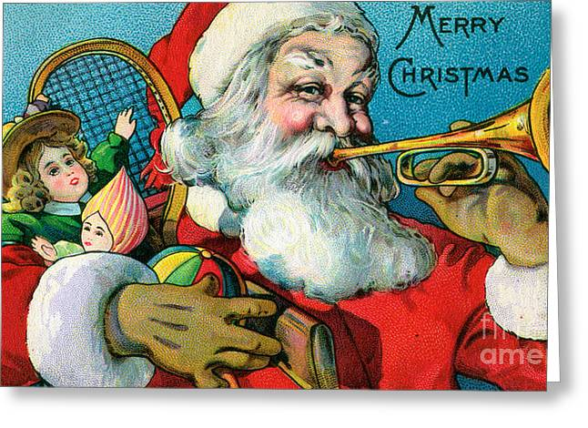 Victorian Illustration Of Santa Claus Holding Toys And Blowing On A Trumpet Greeting Card by American School
