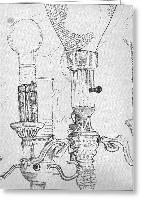 Victorian Lamp Drawing Greeting Card by Ron Hayes