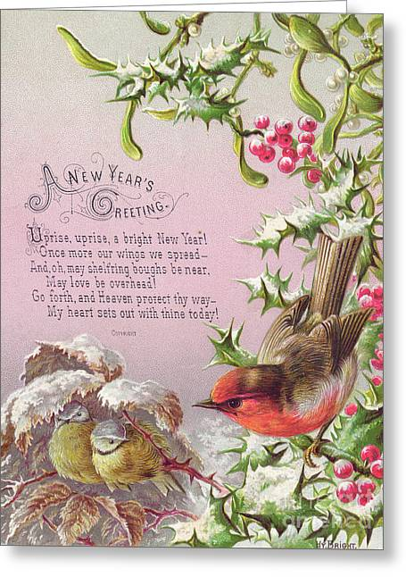 Victorian New Year Card Of A Robin And Two Birds In A Snowy Scene Greeting Card