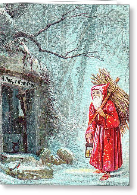 Victorian New Year's Card With Father Christmas Carrying Bundle Of Sticks On A Snowy Night Greeting Card