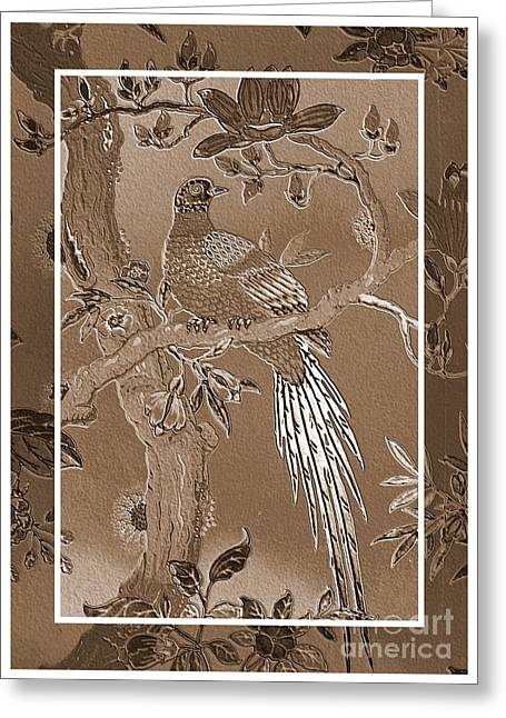 Victorian Pheasant In Sepia Greeting Card by Carol Groenen