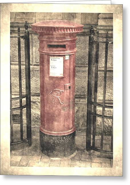 Victorian Red Post Box Greeting Card