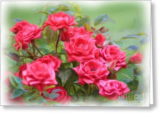 Victorian Rose Garden - Digital Painting Greeting Card by Carol Groenen