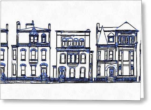 Victorian Row Houses Greeting Card