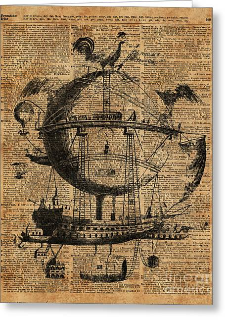 Victorian Steampunk Flying Machine Greeting Card by Jacob Kuch