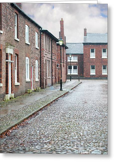 Victorian Terraced Street Of Working Class Red Brick Houses Greeting Card by Lee Avison