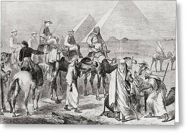 Victorian Tourists At The Pyramids Greeting Card