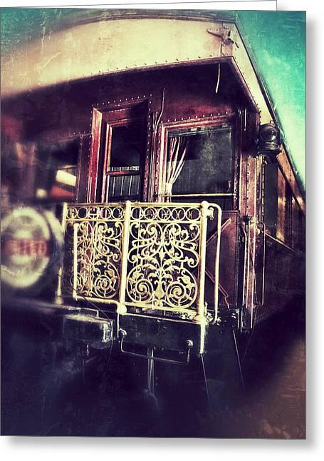 Nostalic Victorian Greeting Cards - Victorian Train Car Greeting Card by Jill Battaglia
