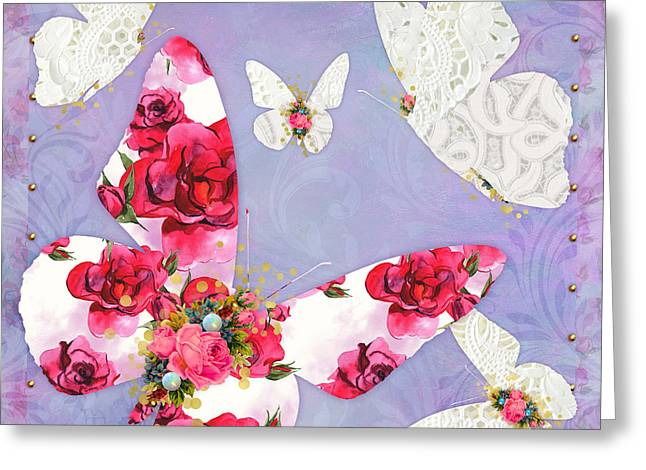 Victorian Wings, Fantasy Floral And Lace Butterflies Greeting Card