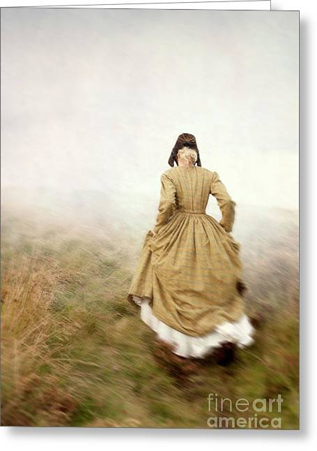 Victorian Woman Running On The Misty Moors Greeting Card