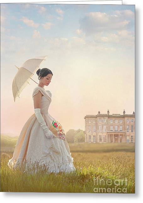 Victorian Woman With Parasol And Fan Greeting Card by Lee Avison