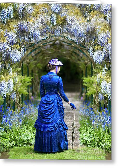 Victorian Woman With Wisteria Greeting Card