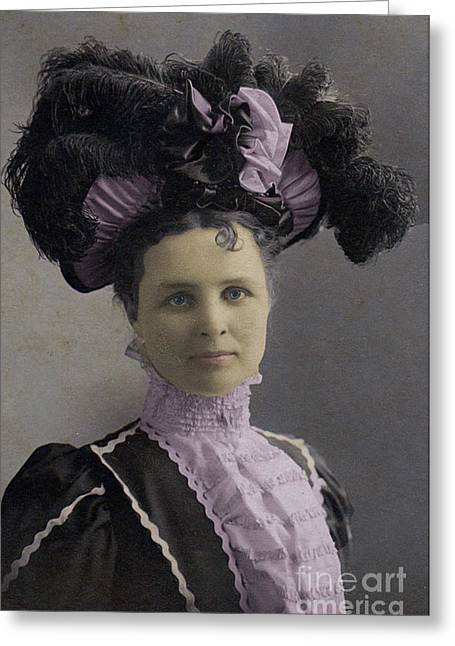 Victorian Women With Big Hat Greeting Card by Lyric Lucas