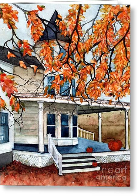 Victoria's Pumpkin Porch - Halloween House Greeting Card by Janine Riley