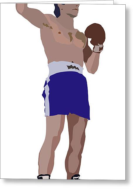 Victorious Boxer Greeting Card by Robert Bissett