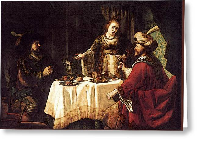 Victors Jan The Banquet Of Esther And Ahasuerus Greeting Card